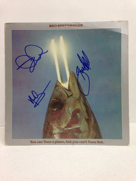 REO Speedwagon **YOU CAN TUNE A PIANO, BUT YOU CAN'T TUNA FISH** Signed & Certified LP cover with vinyl record - GV580322 - signed by: Kevin Cronin, Neal Doughty, Bruce Hall