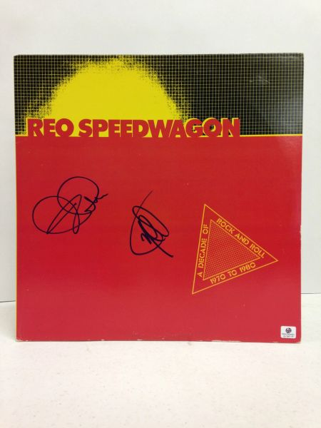 REO Speedwagon **A DECADE OF ROCK AND ROLL 1970 TO 1980** Two Record Set - Signed & Certified LP cover with vinyl records - GV546181 - signed by: Kevin Cronin, Neal Doughty