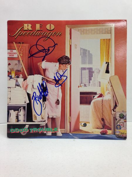 REO Speedwagon **GOOD TROUBLE** Signed & Certified LP cover with vinyl record - GV562229 - signed by: Kevin Cronin, Neal Doughty, Bruce Hall