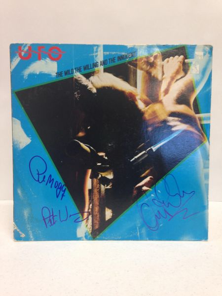UFO **THE WILD THE WILLING AND THE INNOCENT** Signed & Certified LP Cover with vinyl record - GV519198 - signed by: Phil Mogg, Pete Way, Andy Parker