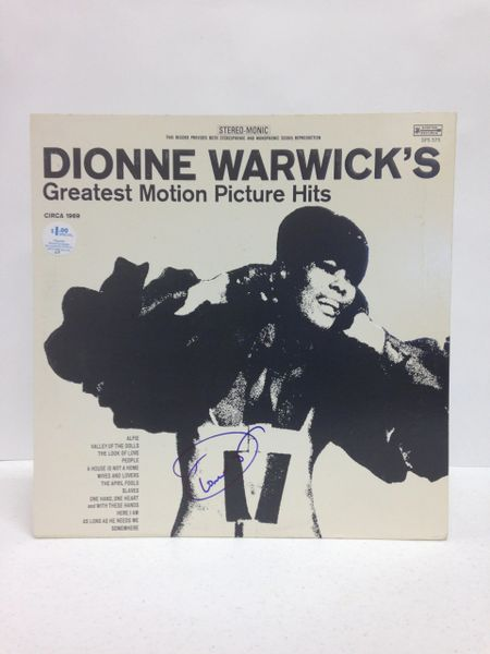 Dionne Warwick **DIONNE WARWICK'S GREATEST MOTION PICTURE HITS** Signed & Certified LP Cover with vinyl record - GV529213