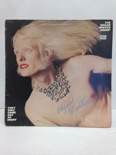 The Edgar Winter Group **THEY ONLY COME OUT AT NIGHT** Signed & Certified LP Cover with vinyl record - GV528427 - signed by: Edgar Winter