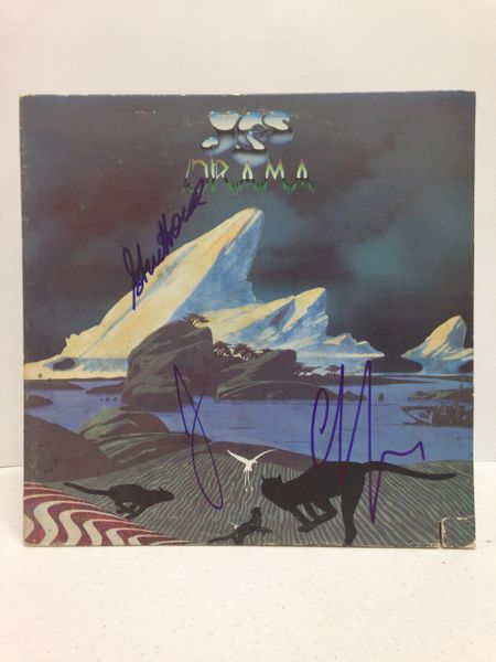 Yes **DRAMA** Signed & Certified LP Cover with vinyl record - GV562581 - signed by: Steve Howe, Jon Anderson, Chris Squire