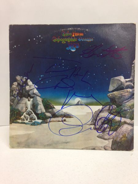 Yes **TALES FROM TOPOGRAPHIC OCEANS** Signed & Certified LP Cover with vinyl record - GV562385 - signed by: Steve Howe, Jon Anderson, Chris Squire, Rick Wakeman, Alan White