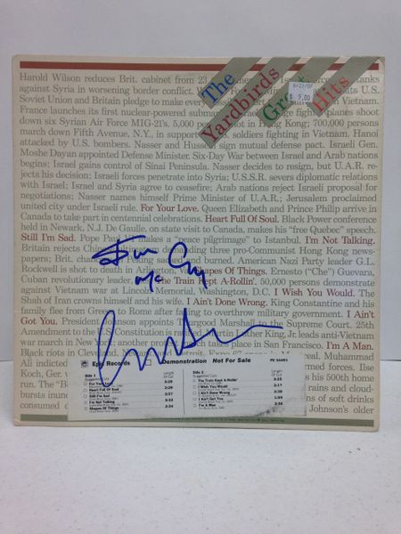 The Yardbirds **GREAT HITS** Signed & Certified LP Cover with vinyl record - GV562801 - signed by: Jim McCarty, Chris Dreja