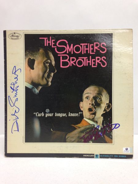 "Smothers Brothers **""CURB YOUR TONGUE, KNAVE!""** Signed & Certified LP Cover with vinyl record - GV704395 - signed by: Tom Smothers, Dick Smothers"