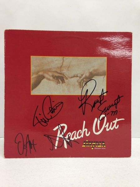 Stryper **REACH OUT** Signed & Certified LP Cover with vinyl record - GV513737 - signed by: Michael Sweet, Robert Sweet, Oz Fox, Tim Gaines