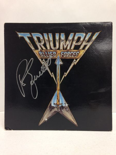 Triumph **ALLIED FORCES** Signed & Certified LP Cover with vinyl record - GV591090 - signed by: Rik Emmett