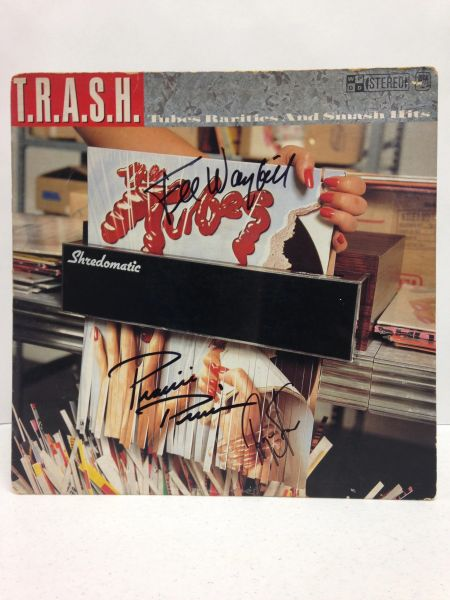 The Tubes **T.R.A.S.H. Tubes Rarities And Smash Hits** Signed & Certified LP Cover with vinyl record - GV586082 - signed by: Fee Waybill, Roger Steen, Prairie Prince
