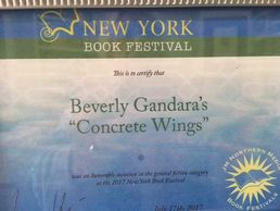 Beverly's novel CONCRETE WINGS receives Honorable Mention at the New York Book Festival.