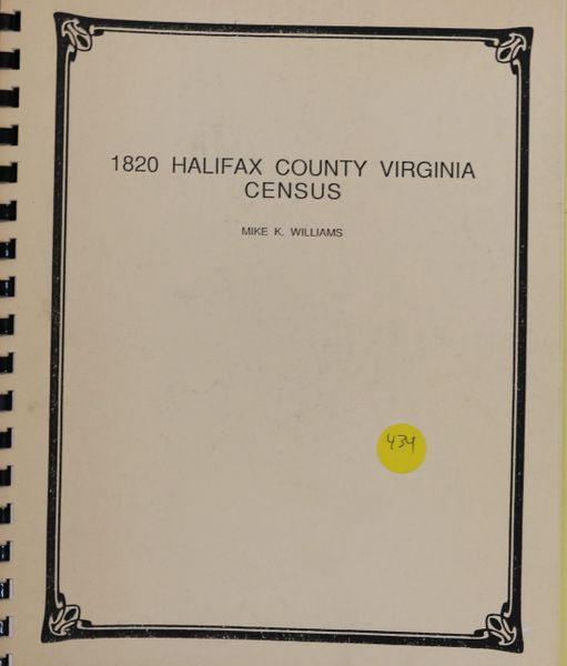 1820 Halifax County, Virginia Census