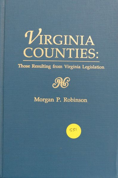 Virginia Counties: those resulting fro Virginia Legislation