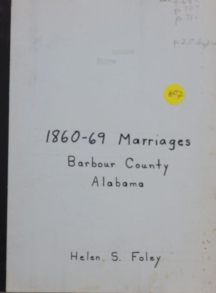 1860-1869 Marriages of Barbour County, Alabama