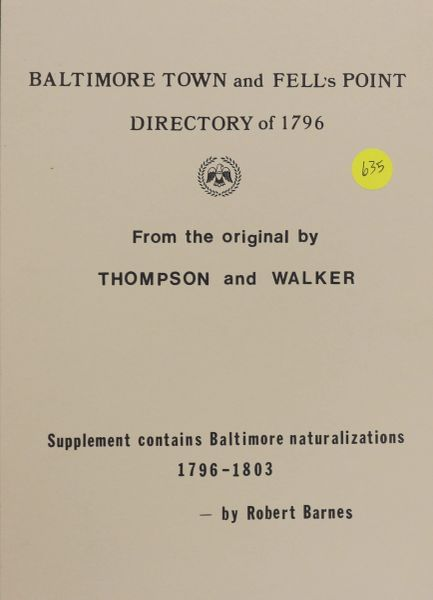 Baltimore Town and Fell's Point Dictionary of 1796