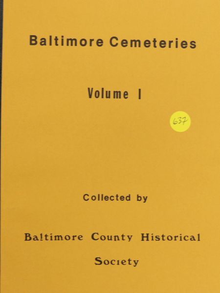 Baltimore Cemeteries, Volume #1