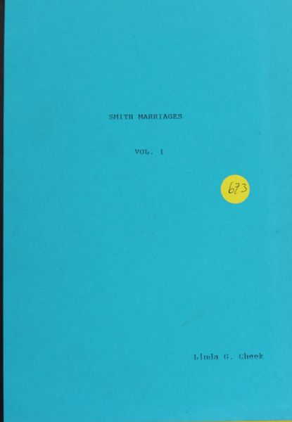 Smith Marriages, Volume #1
