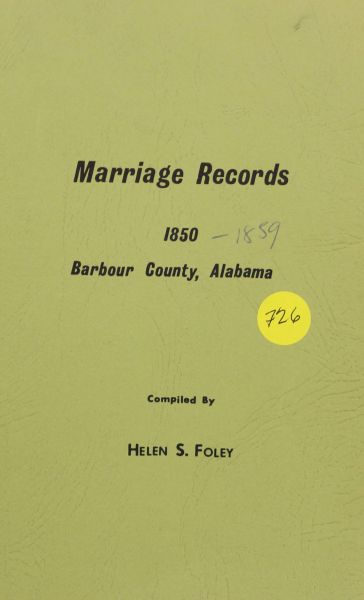 Marriage records of Barbour County, Alabama, 1850-1859