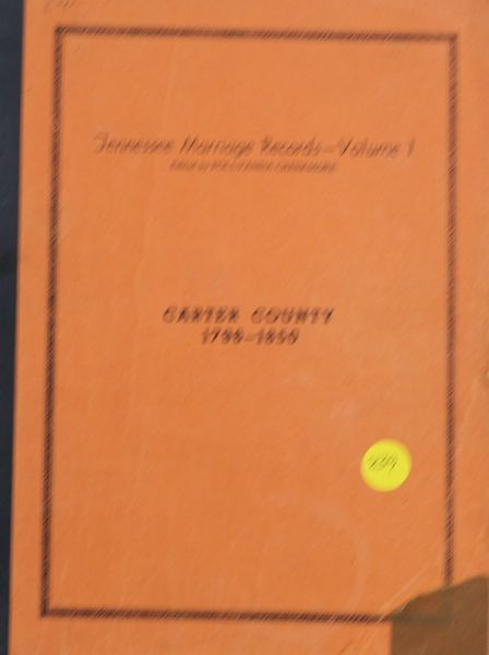Carter County, Tennessee Marriage Records, 1796-1850