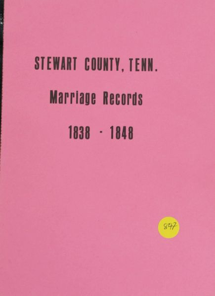 Stewart County, Tennessee Marriage Records, 1838-1848