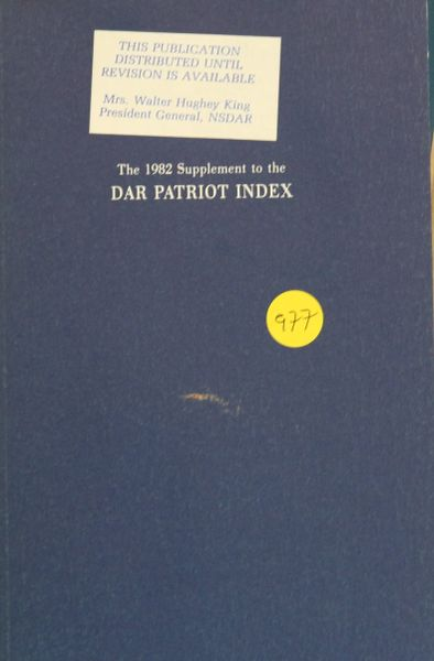 The 1982 Supplement to the DAR Patriot Index