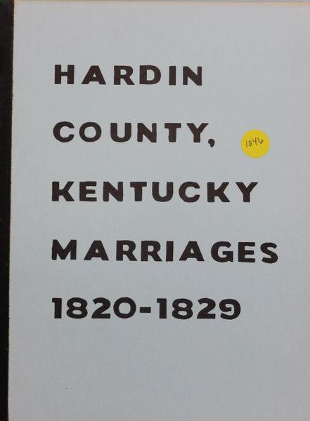 Hardin County, kentucky Marriages, 1820-1829