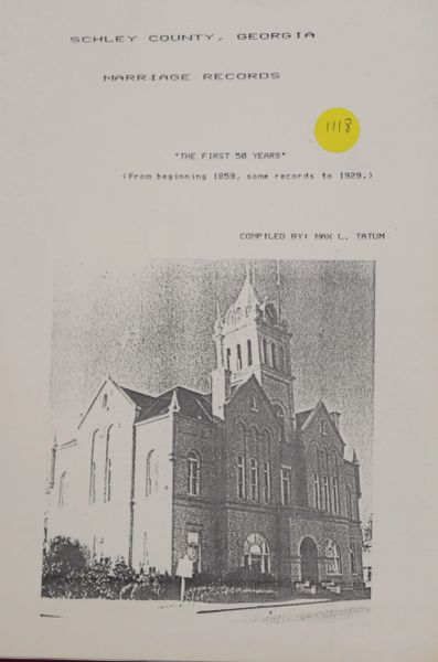 Schley County, Georgia Marriage Records 1859-1929