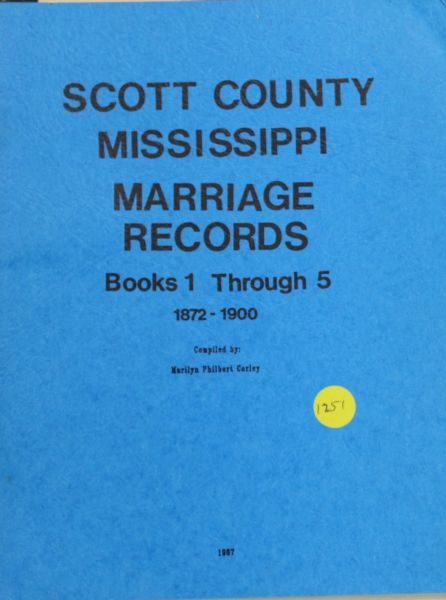 Scott County, Mississippi Marriage Records, 1872-1900
