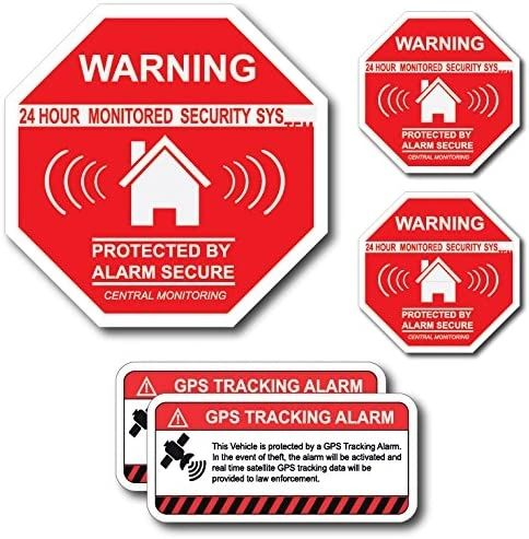 (5 Pack) Combination Pack of 24 Hour Monitoring - This Vehicle Protected by GPS Tracking Warning Signs - Decal Self Adhesive Sticker Vinyl Decal — UV Resistent & Waterproof Inks