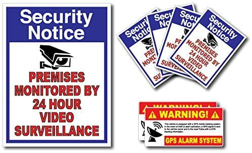 (7 Pack) Combination Pack of 24 Hour Monitoring - This Vehicle Protected by GPS Tracking Warning Signs - Decal Self Adhesive Sticker Vinyl Decal — UV Resistent