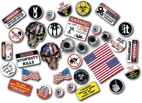 35 Pack 3M Funny Hard Hat Helmet Sticker Combo Value Pack Extreme Edition Toolbox