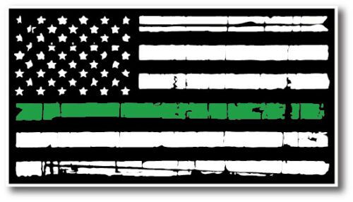 Thin Green Line Flag Decal Army Car Truck Military Auto Sticker TGL USA Strong