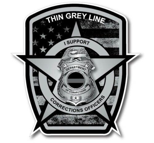 Thin Grey Line Badge Decal Correctional Officer Car Truck Vinyl USA Police Van 1