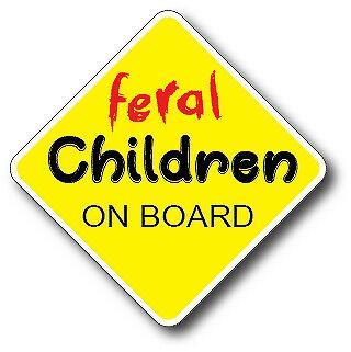 Feral Children On Board Decal Funny Car Truck Sticker Vinyl Humor Crude Auto 1 2