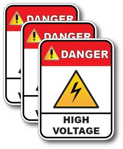 3 Pack High Voltage Decal Home Danger Warning Safety Sticker Vinyl Work Sign USA