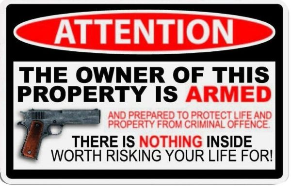 Owner Armed Wide Car Truck Decal Sticker Warning Vinyl Attention Bumper USA Door