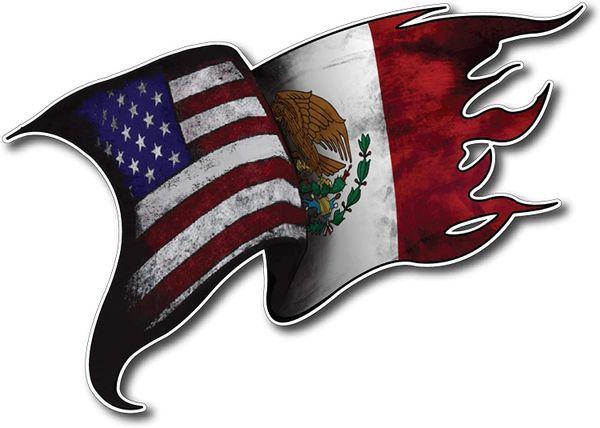 USA MEXICO Flag Decal Vinyl Tattered Waving Car Truck Window Eagle Bumper Auto 1