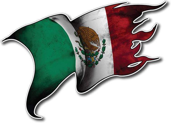 MEXICO Flag Decal Vinyl Tattered Waving Car Truck Window Eagle Bumper Auto MX 1