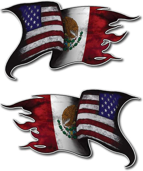 2 Pack USA MEXICO Waving Flag Mirrored Decal Vinyl Tattered Car Truck Flags Auto