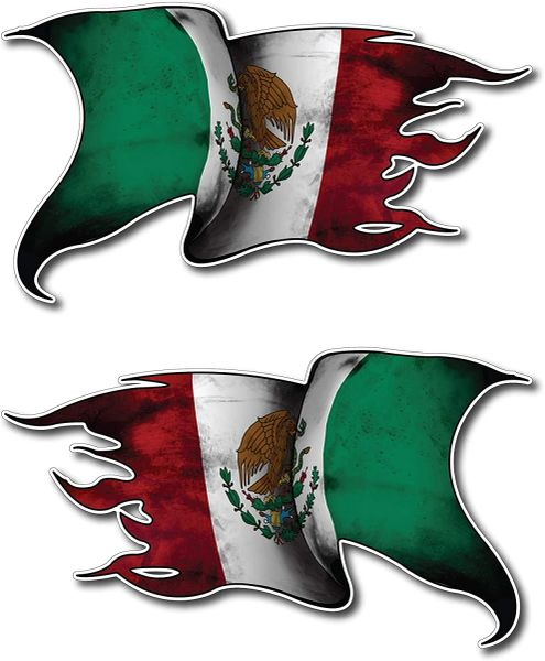 2 Pack MEXICO Waving Flag Mirrored Decal Vinyl Tattered Car Truck Flags Sticker