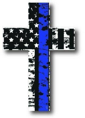 Thin Blue Line Cross Decal Sticker Car Truck Police Officer TBL Bumper Vinyl USA