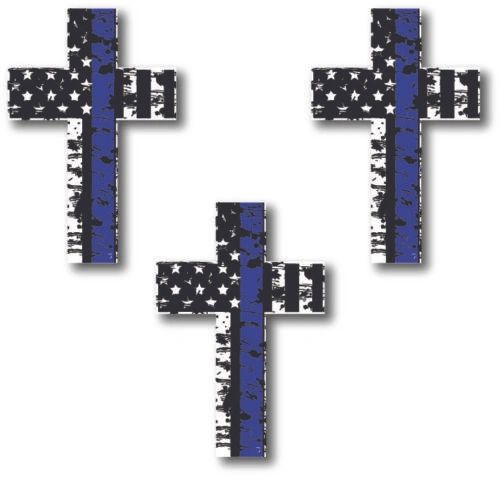 3 Pack Thin Blue Line Cross Decal Sticker Car Truck Police Officer Lives Bumper