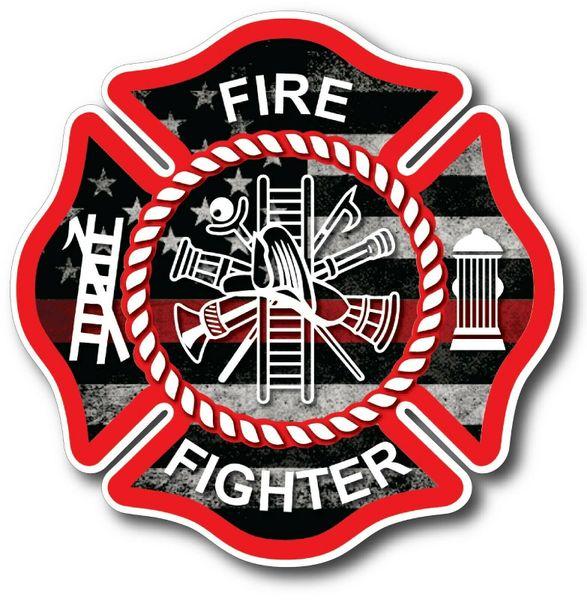 IAFF Badge Maltese Cross Firefighter Decals USA Stickers Auto FD Vinyl TRL Fire