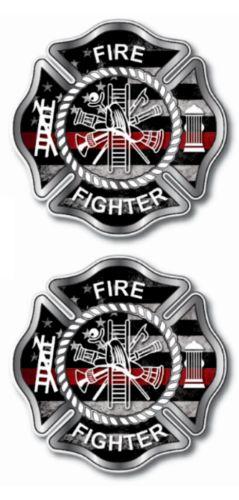 2 Pack IAFF Badge Maltese Cross Firefighter Decals USA Sticker Vinyl TRL Fire FD