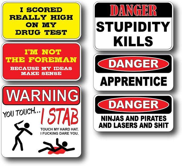 6 Pack Hard Hat Crude Humor Funny Joke Decal Sticker Toolbox Welder Helmet Tool