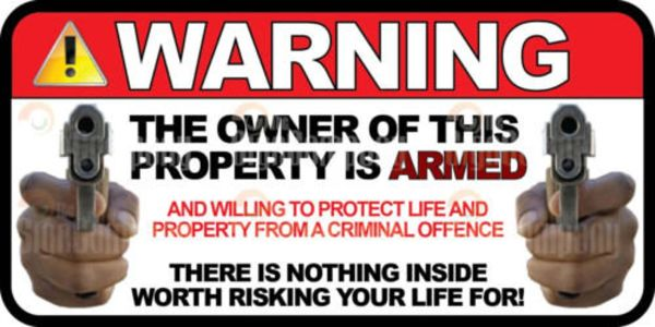 """Warning Owner is Armed 6"""" Wide Car Truck Decal Marines Army Window"""