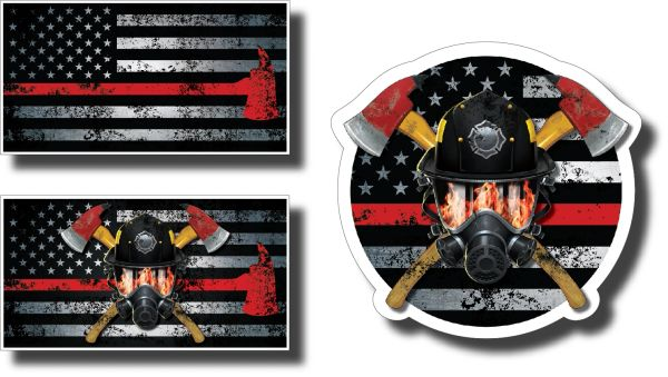 3 Pack IAFF Firefighter axe flag decal pack