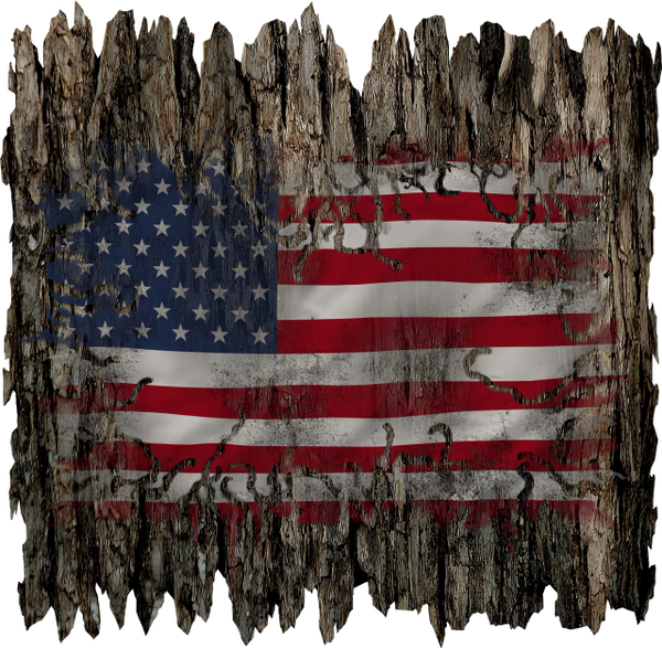 Camouflage wooden USA American Flag Decal Sticker Hunting