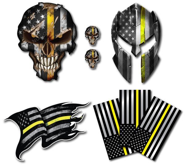 Decals by Haley Thin Yellow Line Dispatch 911 Operator Variety Pack Skull Molon Labe Spartan Helmet Flag decals