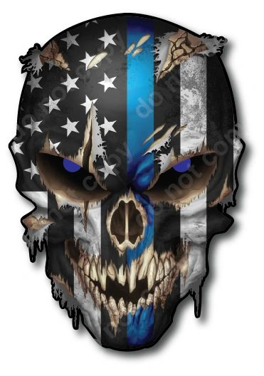Thin Blue LINE Skull American Flag Police Officer Blue Lives Matter Sniper Vinyl Decal Stickers Car Truck Sniper Marines Army Navy Military Graphic