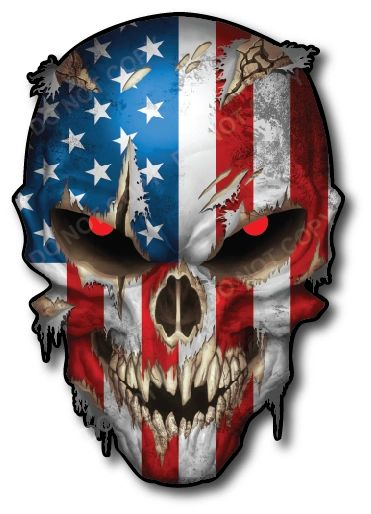 USA Skull American Flag Sniper Vinyl Decal Stickers Car Truck Sniper Marines Army Navy Military Graphic REFLECTIVE EYES